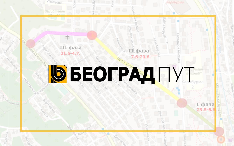 Радови под саобраћајем у улици Пере Ћетковића