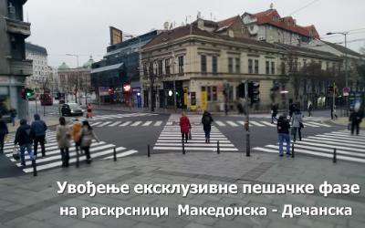 Увођење ексклузивне пешачке фазе на раскрсници  Македонска - Дечанска