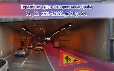 Теразијски тунел затворен за саобраћај